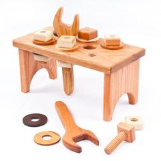 Hardwood Wooden Toy Work Bench and Tools #woodworkingbench