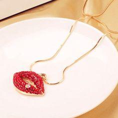 Moda Vermelho Diamante Pingente de Lábio Colar da Liga para Mulher (Como a Imagem) | Sammydress.com