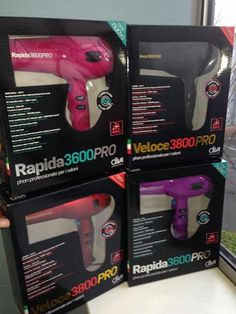 Fab new salon professional hair dryers Veloce and Rapida Professional Hair, Dryers, Hairspray, Beauty Shop, Cut And Color, Hair Dryer, Hair Extensions, Eyelashes, Salons