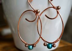 Hammered Copper Hoop Earrings Wire Wrapped With Dark Turquoise Pearl and Tan Glass Bead