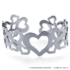 Stainless Steel Multi-Heart Cuff Bracelet                          CC-30838 by CedarCreekCanada on Etsy