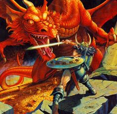 This is the art that got me started on DnD. I asked if I could look at the Basic player's book they were reading, flipped to the cover to see the title and BLAM, hooked. I'd love a poster of this to frame.