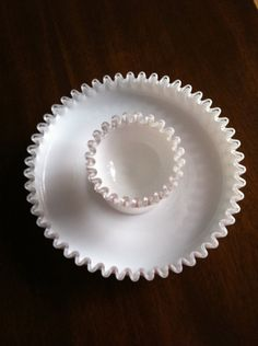 Fenton Milk Glass Silver Crest Chip and Dip Server