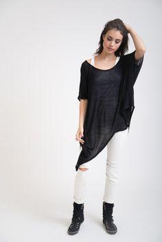 Oversized Asymmetric Top / Designer Tunic / Long by marcellamoda