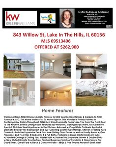 BEAUTIFUL HOME FOR SALE IN LAKE IN THE HILLS! For More Information on This Listing or to View All of my Listings, Go To www.IvetteMovesYou.com - Contact Me Today at 847-558-9735 With Any Questions or to See This Home!
