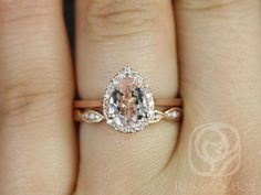 Julie 8x6mm & Ember 14kt Rose Gold Pear Morganite and Diamonds Halo Wedding Set (Other metals and stone options available)