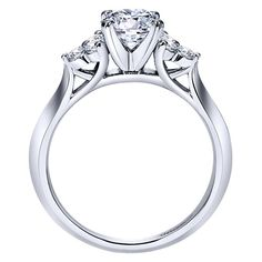 14k White Gold Contemporary Style  3 Stones Engagement Ring