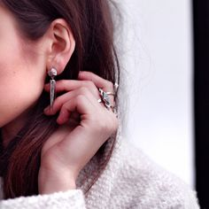 Riya silver earrings | Edge of Ember | Polished spiked drop earrings