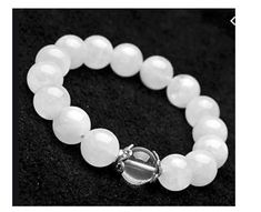 Stainless Steel ball White Ice Jadeite Beaded Stretch Silver Bracelet