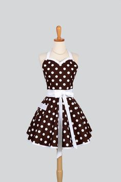 this ones my favorite. // Sweetheart Retro Apron , Sexy Womens Apron in Brown and White Dot Cute Full Kitchen Apron