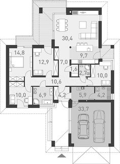 Projekt domu Dobry 3 125 m2 - koszt budowy - EXTRADOM Construction Cost, House Plans, Floor Plans, House Design, How To Plan, Modern, Houses, Magic, Drink