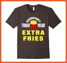 Mens Funny T-shirt Exercise I Thought You Said Extra Fries 2XL Asphalt - Workout shirts (*Partner-Link)
