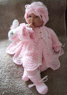 Custom handmade  knit baby girls or Reborn Dolls pink