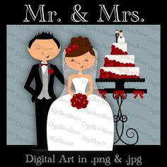 Wedding Clip Art for DIY projects like invitations, scrapbooks, showers! #DigiBonBons