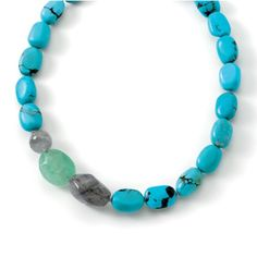 Blue Grotto Necklace Chunky turquoise, gray and green beads make this statement necklace a great addition to any wardrobe. New with tags and gift box. Jewelry Necklaces