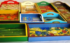 BANDEJAS Decoupage, Scrap, Country, Ideas, Decorated Boxes, Beautiful Images, Craft, Trays, Pintura