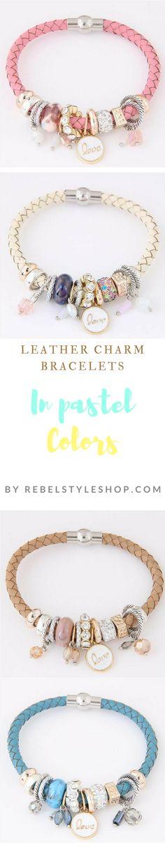 Pretty leather charm bracelets in four different colors  braided leather charm bracelet  leather bracelets  charm bracelets  leather wristbands