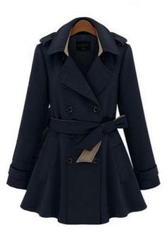 Leisure double-breasted coat dust coat plus-size trench coat_Coats_CLOTHING_Voguec Shop