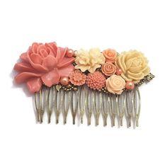 Peach Rose Comb-Wedding Fascinator-Fashion Hair Comb-Floral