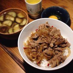 牛丼が急に食べたくなって。。茄子の味噌汁と一緒に! - 22件のもぐもぐ - 牛丼 by bethjoe