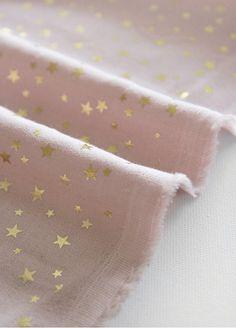 Gold Stars Cotton Gauze  Pink Double Gauze  55 Wide  by landofoh