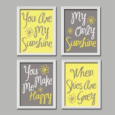 Yellow Gray You Are My Sunshine Wall Art Canvas