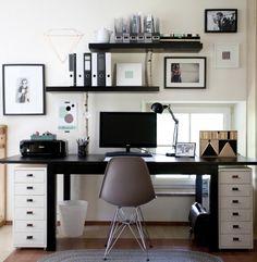 Monochrome Office Mein neuer Arbeitsbereich, Tags Arbeitsbereich + Eames + Vitra + Arbeitszimmer + 3x Ikea Mülleimer