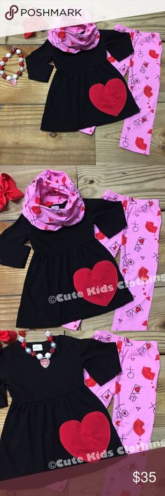 Girls Heart Appliqué Valentine Scarf Outfit 3-pc Girl's Valentine's Day Scarf Outfit with big red heart ❤️ appliqué on the tunic top, Valentine print leggings, and matching infinity scarf. Fit: TRUE TO SIZE Cotton/Spandex-Hair Bow IS NOT Included. Price is FIRM unless you bundle with other listings for a discount. Grab the size you need NOW! These will sell out FAST! Infant girls, toddler girls, and girls to a 7-8! Moxie Girl Matching Sets