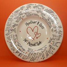 Wedding message plate.  DIY painted plate with personalised theme.  Guests then sign the plate with messages.  A great keepsake.