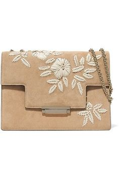 Beige suede and leather (Calf) Push lock-fastening front flap Weighs approximately 2.4lbs/ 1.1kg Made in Italy