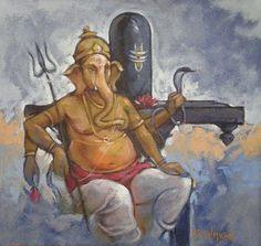 ganesha painting - acrylic on canvas- by artist ns kumbar