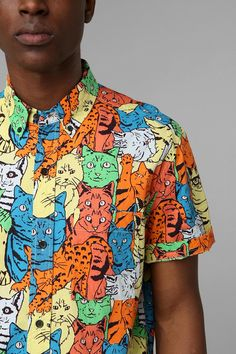 Weird and awesome kitty button down shirt. #catober