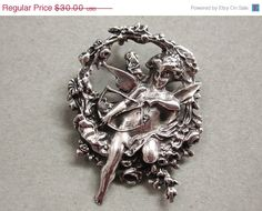 Sterling Silver Cupid with Bow and Arrow Pin by COBAYLEY on Etsy