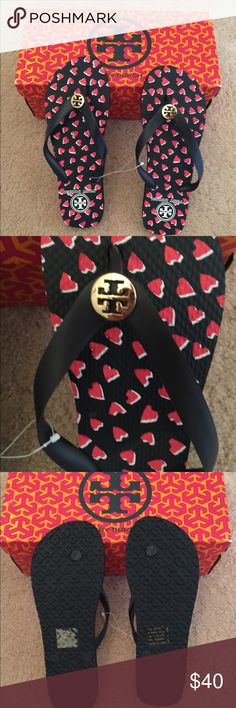 🆕 Tory Burch Heart ❤️ printed thin flip flops 💯% authentic Tory Burch Heart ❤️ printed thin flip flops NWT  Tory navy & red. Never been worn Tory Burch Shoes Sandals