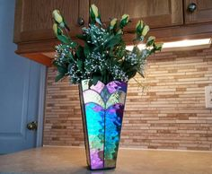 Shimmering stained glass vase.Black flower holder.Decorative vase.Original design.Floral bouquet.Stained glass accent.Stunning home decor by Firelightglassart on Etsy