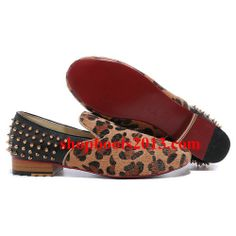 Discount Christian Louboutin Rollerboy Gold Spikes Men Flats Pony Hair