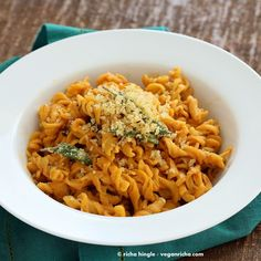 This vegan Pumpkin Sage Pasta is a perfect fall dinner. Rotini, creamy pumpkin sage thyme sauce, topped with crispy sage and breadcrumbs. Soy-free Dairyfree