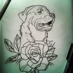 Traditional outline rottweiler and big flower tattoo design ...