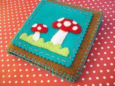 Brown & Turquoise felt Mushroom Needlebook Needle by cupcakecutie1, $16.95