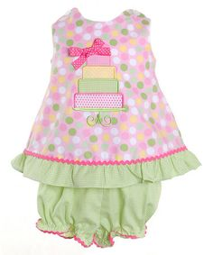 Take a look at this Pink Polka Dot Cake Tunic & Bloomers - Infant by Candyland on #zulily today!