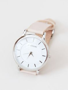 natural strap watch nude color silver face round face