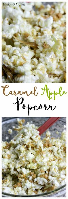 I am a major Popcorn Loving Girl! I could eat it every day…but try to stick to only on special occasions because it is hard to not dress it up and make it super fattening. This recipe is actually a combination of two of my other recipes Caramel Apple Rice Crispy Treats and Jolly Rancher Flavored Popcorn Balls. The flavor combo is Sour Green Apple,