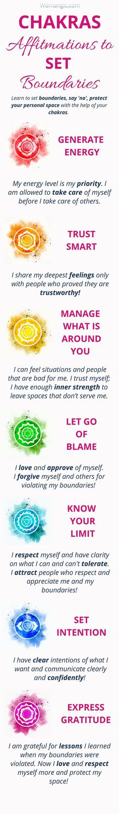 Learn how to set healthy boundaries with your Chakras, Chakra Balancing, Root, Sacral, Solar… - weightloss Anxiety Help, Overcoming Anxiety, Social Anxiety, Reiki, Chakra Images, Chakra Meanings, Chakra Mantra, Les Chakras, Chakra Affirmations