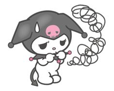 "The self-proclaimed rival of My Melody. Her black hood with a pink skull motif has ""I rock! Sanrio Characters, Cute Characters, Blackwork, Hello Kitty Imagenes, Hello Kitty Pictures, Pink Skull, Scary Art, Dibujos Cute, Bad Cats"