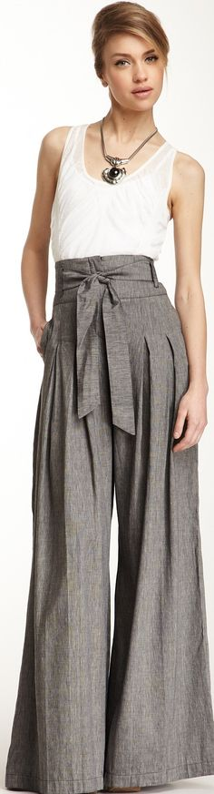 L.A.M.B.Cross Dyed Linen Culotte Pant ♥✤   Keep the Glamour   BeStayBeautiful (Those highly pinned pants on sale now)