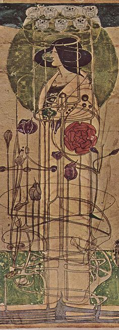 Art Nouveau - Charles Rennie Mackintosh design for a wall decoration Charles Rennie Mackintosh, Art Nouveau, William Morris, Belle Epoque, Gustav Klimt, Mackintosh Design, Conceptual Sketches, Jugendstil Design, Glasgow School Of Art