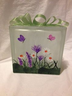 Coupon Michaels Arts And Crafts Info: 9055329096 Painted Glass Blocks, Hand Painted, Glass Block Crafts, Michael Art, Bottle Lights, Enamel Paint, Arts And Entertainment, Pretty Flowers, Spring Flowers