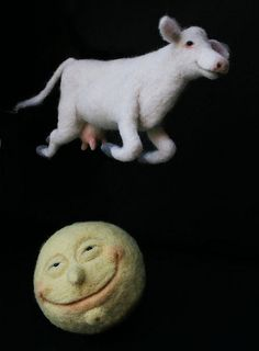 "*NEEDLE FELT ART ~ ""The Cow Jumped Over the Moon"", by Laleebu, via Flickr"