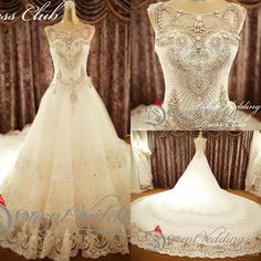 2015 Gorgeous Scoop Bling Bling A Line Lace Wedding Dresses With Heavy Beads Crystal Sleeveless Hollow Cathedral Train Luxury Bridal Gowns Beautiful Wedding Dresses Bridal Shops From Allurebridals, $220.41| Dhgate.Com