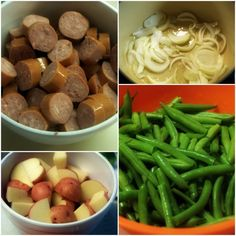 Nothing tastes like summer quite like Hoosier Stew with fresh green beans, red potatoes and smoked sausage that has simmered in caramelized onions. So easy. Sausage Potatoes Green Beans, Oven Green Beans, Beans And Sausage, Easy Sausage Recipes, Dutch Oven Recipes, Potato Recipes, Crockpot Recipes, Healthy Recipes, Caramelized Onions